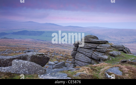 View towards High Willhays from Belstone Tor, Dartmoor, Devon, England. Winter (January) 2012. - Stock Photo