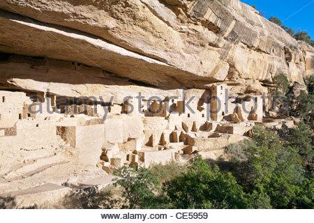 Cliff Palace Anasazi ruins, Mesa Verde National Park, Colorado, United States - Stock Photo