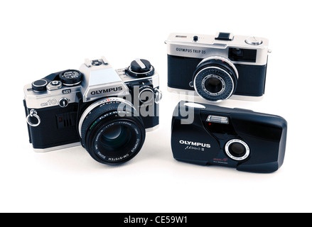 A collection of old Olympus 35mm film cameras - Stock Photo