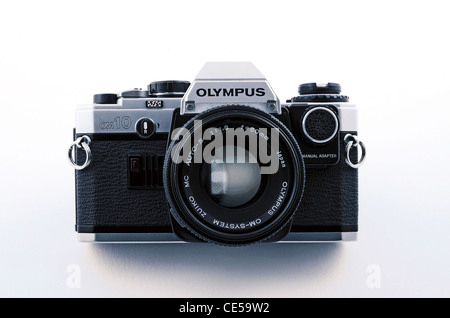 An Olympus OM10 35mm SLR film camera - Stock Photo