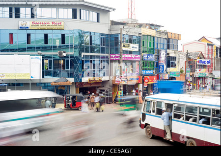 Heavy duty traffic in the streets o fAmbalangoda - is a coastal town in southern Sri Lanka. - Stock Photo