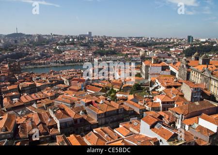 Portugal, Porto.  City as seen from the Clerigos Church tower looking towards Vila Nova de Gaia across the Douro - Stock Photo