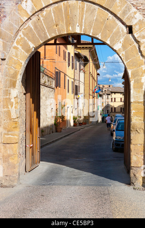Wall and entrance gate to Colle di Val d'Elsa or Colle Val d'Elsa, Tuscany, Province of Siena, Italy, Europe - Stock Photo
