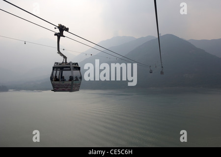 ngong ping 360 cable car over tung chung bay lantau island hong kong hksar china asia - Stock Photo