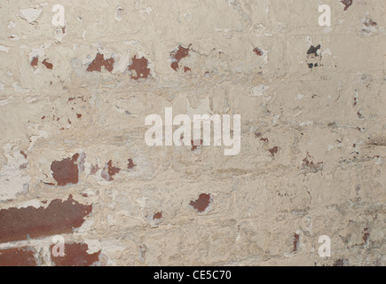 Damp wall paint flacking off - Stock Photo