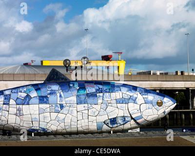 Big Fish, Laganside, Belfast, Northern Irelandprinted ceramic mosaic - Stock Photo