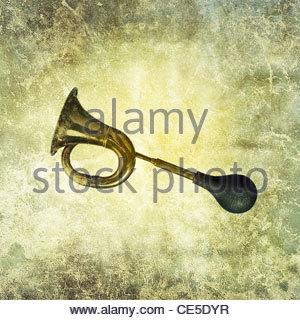antique vintage car horn - Stock Photo