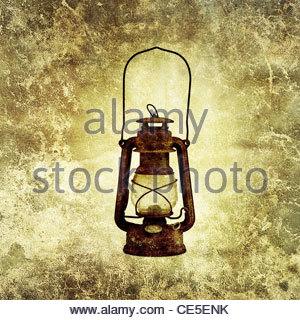 rusty oil lamp - Stock Photo