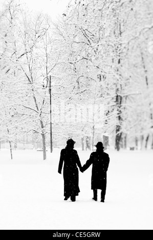 Couple in a public park under the snow - Stock Photo