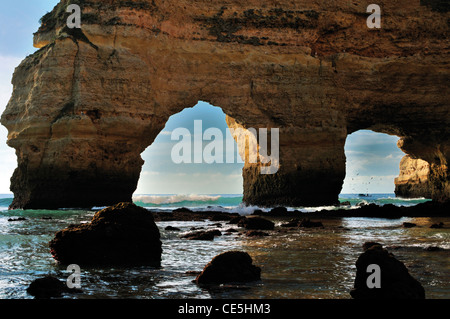 Portugal, Algarve: Rocky arcades at  Praia da Marinha near Carvoeiro - Stock Photo