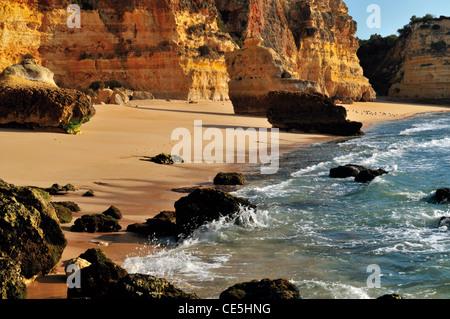 Portugal, Algarve: Rocky beach Praia da Marinha near Carvoeiro - Stock Photo