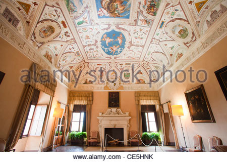 hall of grotesque,castle of the manta,langhe,piemonte,italy,europe - Stock Photo