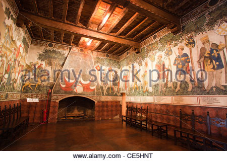 baronial hall,frescoes by the master of the manta,castle of the manta,langhe,piemonte,italy,europe - Stock Photo