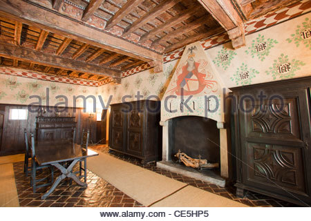 interior,castle of the manta,langhe,piemonte,italy,europe - Stock Photo