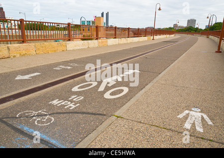 A Paved Bike Path in an Urban Environment - Stock Photo
