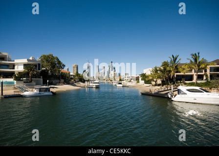 Luxury waterfront homes on a canal in Surfers Paradise, Queensland, Australia - Stock Photo
