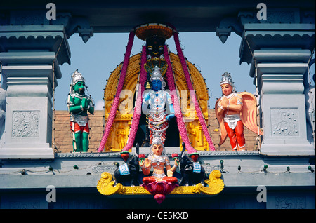 Lord Krishna temple ; sculptures of Vishnu Hanuman Lakshmi ; Udupi ; Udipi ; Odipu ; Karnataka ; India ; Asia - Stock Photo