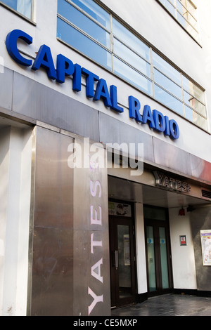 West End Leicester Square Capital 95.8 fm London Radio offices studio commercial start 1973 The UK's No.1 Hit Music - Stock Photo