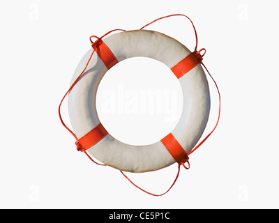Detailansicht eines Rettungsringsauf weißem Hintergrund | Detail photo of a lifebuoy, white background - Stock Photo