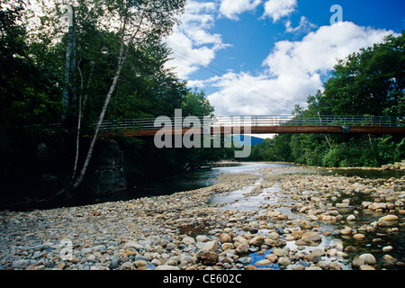 Crawford Notch State Park - Bemis Bridge, which the Saco River along Davis Path in the White Mountain National Forest - Stock Photo