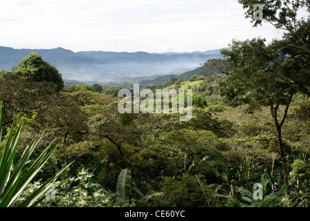 Forested mountainsides and valley near Matagalpa, Nicaragua - Stock Photo