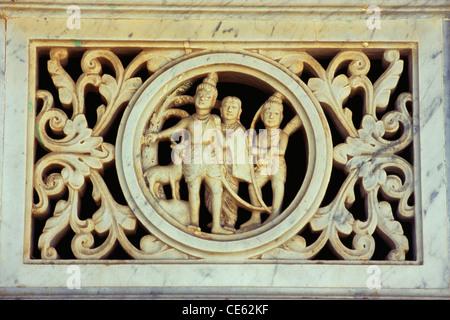 Ram Laxman and Sita richly carved on marble jali window Sayla Gujarat India - Stock Photo