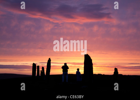 Orkney, Ring of Brodgar sunset - Stock Photo
