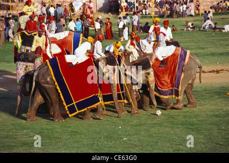 Elephant Polo ; Jaipur ; Rajasthan ; India - Stock Photo