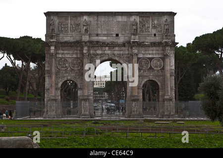 The Arch of Constantine is a three-doors arch next to the Colosseum in Rome, Lazio, Italy. - Stock Photo