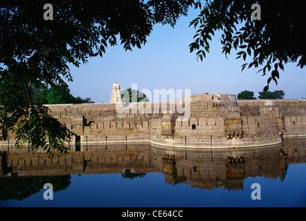 Vellore fort ; Military architecture ; granite walls and surrounding moat ; Vellore ; Tamil Nadu ; India ; Asia - Stock Photo