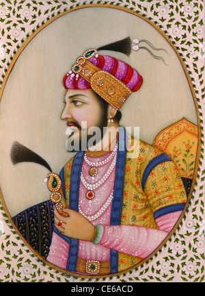 Mughal emperor Shah Jahan miniature painting on ivory - Stock Photo