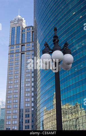 Street lamp post on West Wacker Drive Chicago - Stock Photo