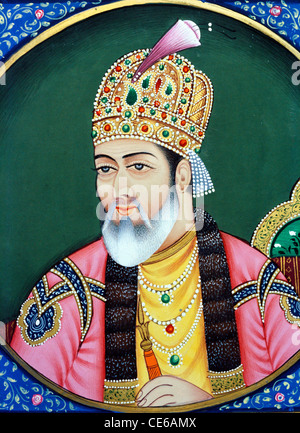 Mughal emperor Shah Jahan miniature painting on paper - bdr 68674 - Stock Photo