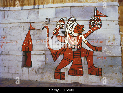 God Hanuman painted on a wall in Jaisalmer ; Rajasthan ; India - Stock Photo