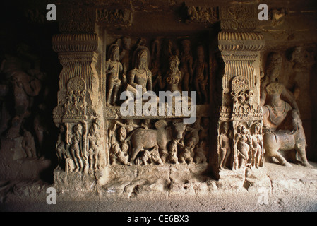 Ellora rock cut cave number 14 ; Aurangabad ; Maharashtra ; India - Stock Photo