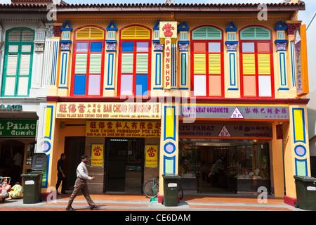 Colourful shophouses on Serangoon Road, Little India, Singapore - Stock Photo