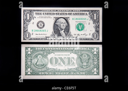 The front and back of a US one dollar bill. - Stock Photo