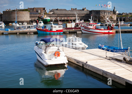 Fish boats and pleasure craft in the harbour at Concarneau, Brittany France. Concarneau is a major French fishing - Stock Photo