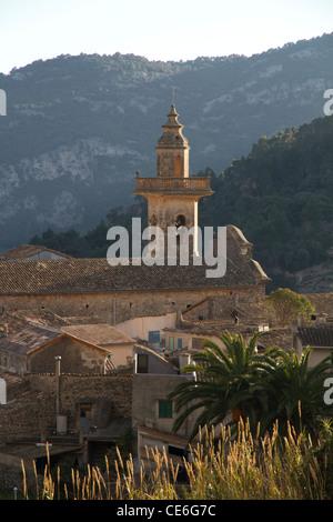 Bell tower church view in small village of Valldemossa Mallorca Majorca Tramuntana Spain - Stock Photo