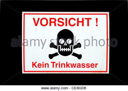Sign warning 'Vorsicht! Kein Trinkwasser' (Caution! Not Drinking Water), Leipzig, Saxony, Germany - Stock Photo
