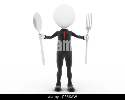 3d businessman ready to eat. - Stock Photo