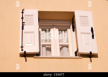 Window and shutters, Fira (Thira), Santorini, Greece - Stock Photo