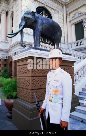 Thailand,Bangkok,Wat Phra Kaeo,Grand Palace,Guard at the Royal Palace - Stock Photo