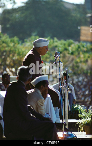 Jawaharlal Nehru First Prime Minister of India talking on microphone NOMR - Stock Photo