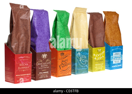 A selection of six different coffees - Stock Photo