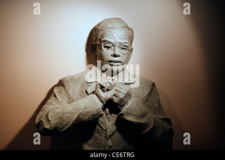 Figure of Zionist Ze'ev Jabotinsky who passionately advocated a Jewish state inside Metzudat Zeev which serves as - Stock Photo