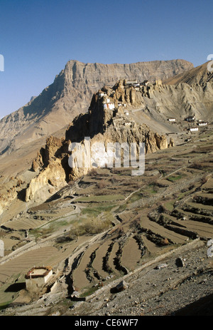 SOM 86024 : Dhankar gompa buddhist hill top monastery spiti himachal pradesh india - Stock Photo