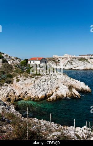 House on the rock of Calanques de Saint Esteve, Ile Ratonneu, Frioul Archipelago, Marseille or Marseilles, France