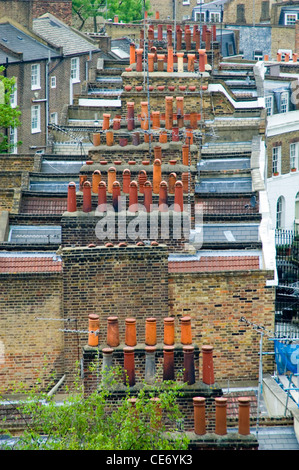 old roof tops ,victorian architecture,islington,london,england,uk - Stock Photo