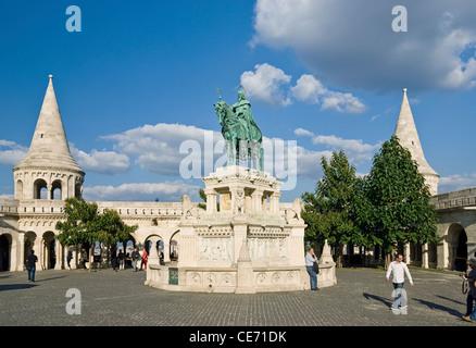 St. Stephen Statue at Fishermen's Bastion (neo-romanesque), Castle Hill District (Varhegy), Buda, Budapest, Hungary. - Stock Photo